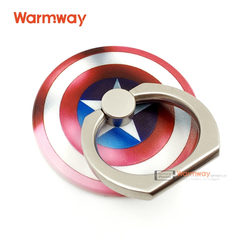 Warmway Captian American Shield Ring Holder with Beautiful PVC Gift Box Anti-fall Phone Ring Stand Holder Finger Grip 2016 New(China (Mainland))