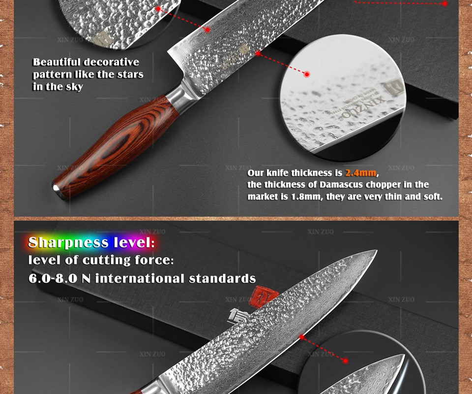 "Buy 2015 New 73 layers 8"" chef knife Japan Damascus steel kitchen knife with Color wood handle high quality sharp free shipping cheap"