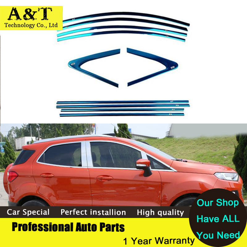Фотография Full Window Trim Decoration Strips Exterior Accessories For Ford Ecosport 2014 2015 Stainless Steel high quality car styling