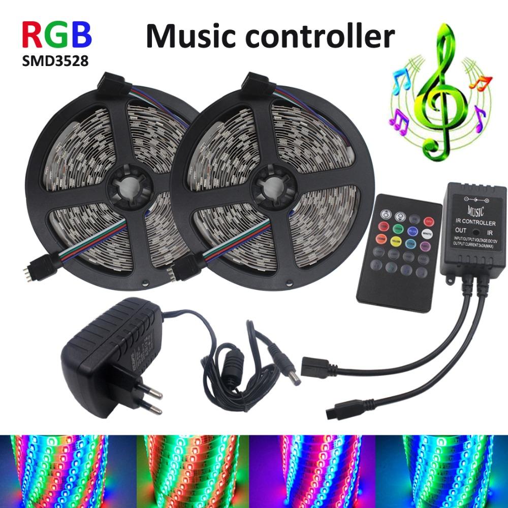 10M 600Leds RGB Led Strip Light SMD 3528 Flexible Light 60Led/m Led Tape String +EU/US 12V 3A Power Adapter +music controller(China (Mainland))