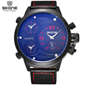 SKONE Big Round Face 3 Time Zone Analog Quartz PU Leather Watches Men Fashion Casual Sports