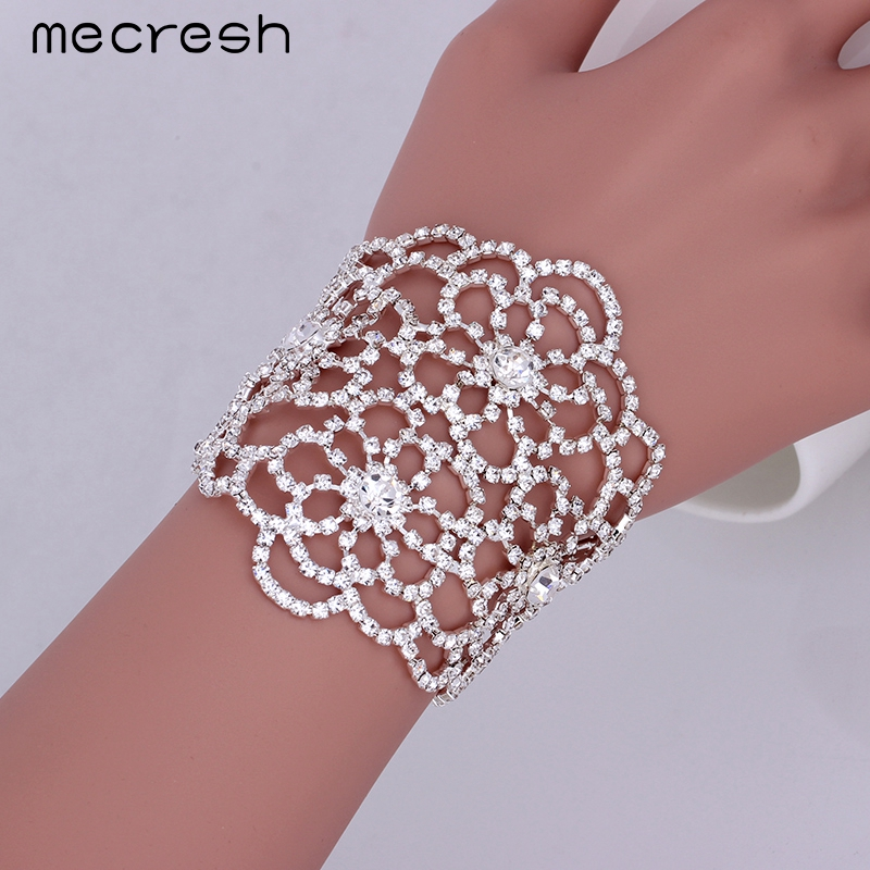 Mecresh 2017 Top Crystal Silver Color Wedding Gift Bridal Jewelry Floral Chain & Link Bracelets Women SL128