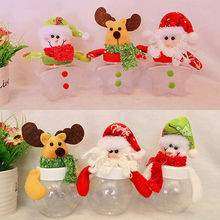 Xmas Santa Clear Plastic Candy Bags Gift Storage Bottle Holder Decoration Christmas Candy Bins(China (Mainland))