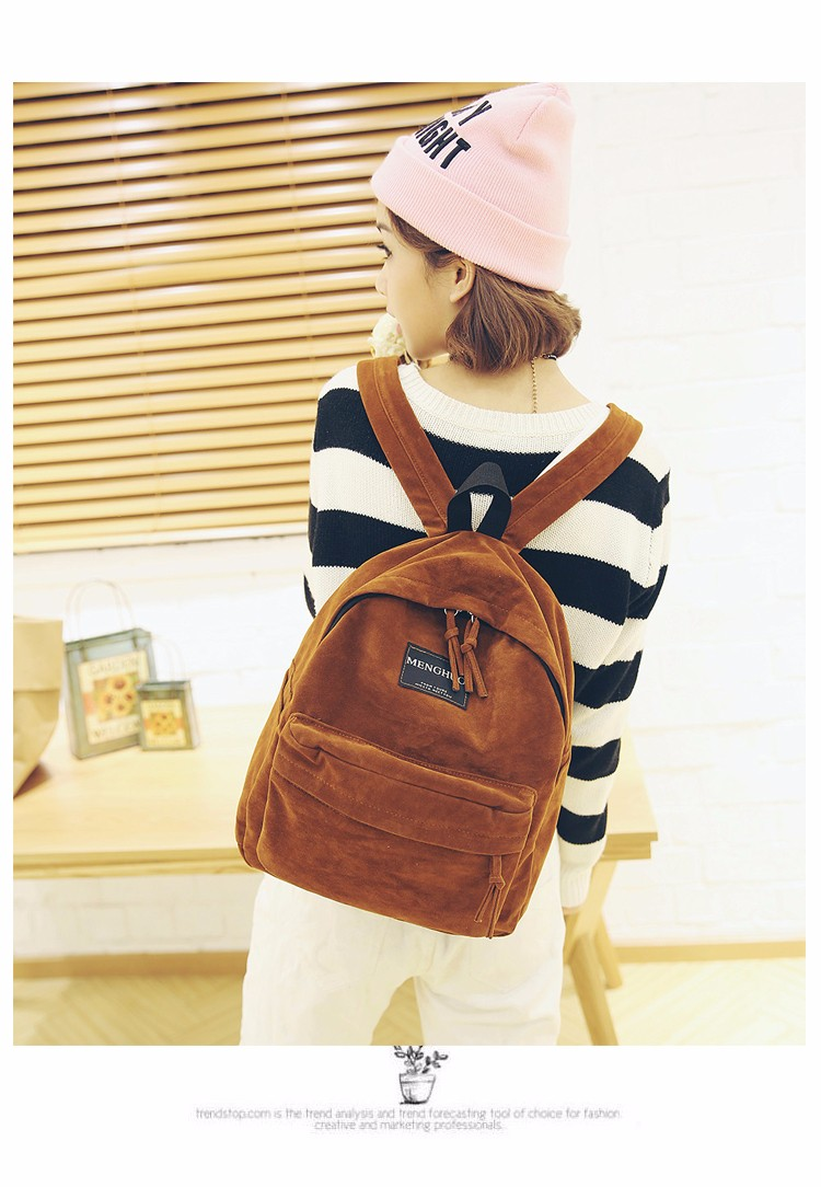 2016 New Women Backpack Preppy Style Suede Backpacks Teenage Girls School Bags Vintage Rivet Travel Backpack Burgundy Gray Black (11)