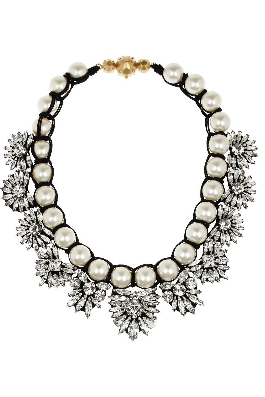 Здесь можно купить  2013 Shourouk white crystal and pearl knitted necklace fashion gem flower pedent necklace Vintage statement choker necklace   Ювелирные изделия и часы