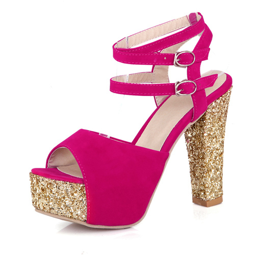 Women Sandals 2015 Thick High Heel Sandals Platform Peep Toe Ankle Wrap Ladies Plus Size 11 12 Glitter Rose Red Shoes X-A60A(China (Mainland))