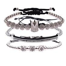 Amader 3 sztuk/zestaw luksusowe CZ ball korona urok miedzi koralik Macrame bransoletki mężczyźni Handmade długa rurka zestaw bransoletki i Bangles dla kobiet(China)