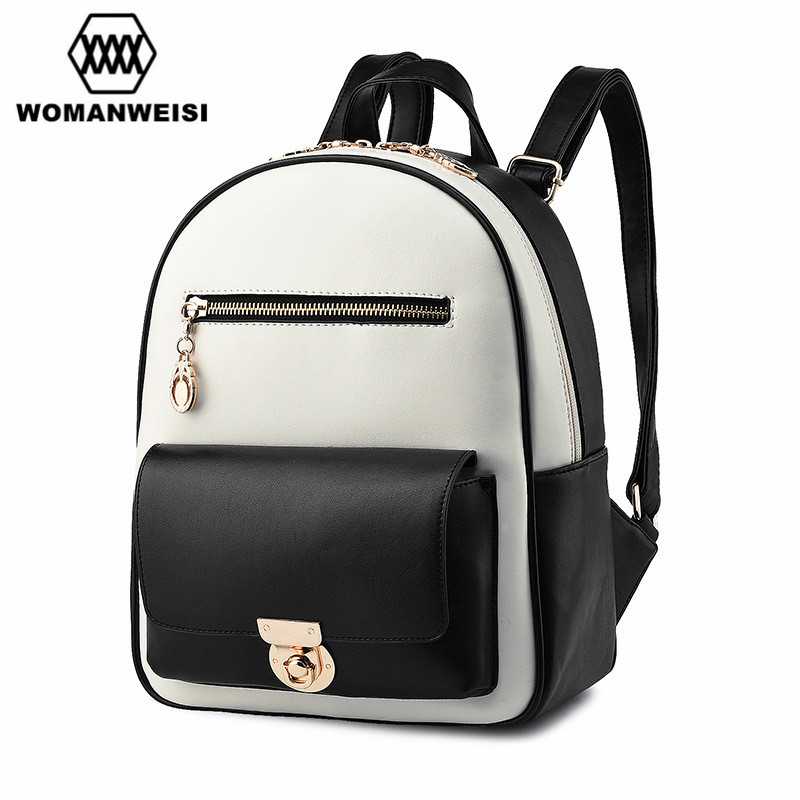 Japan And Korean Style Fashion Brand White Black Pu Leather Splice Backpack Women School Bags