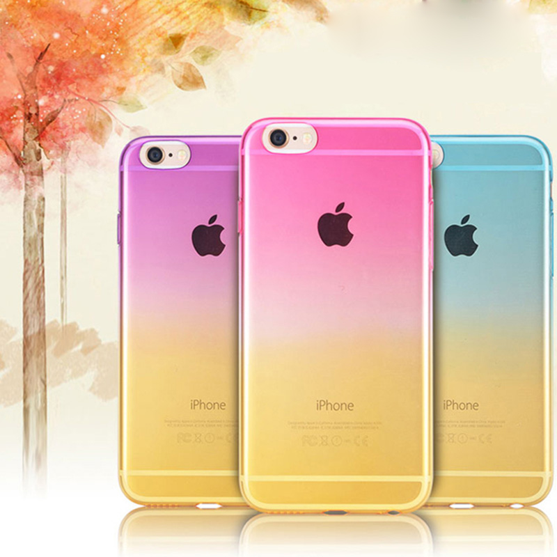 For baseus Gradual Change Ombre Colorful TPU Soft Case For iPhone 4 Rainbow Ultra Slim 0.5mm Transparent Cover iPhone 4s coque(China (Mainland))
