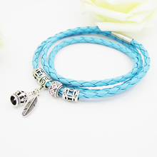 Silver Plated Leather Bracelet With Crown Lucky Feather Beads Charm Women DIY Fit Pandora Bracelets Jewelry Christmas present(China (Mainland))