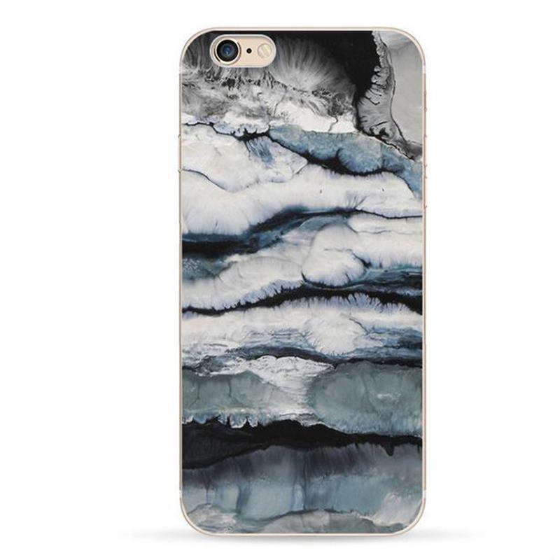 Чехол пластиковый с индивидуальным дизайном «Черно-серый мрамор» для iPhone