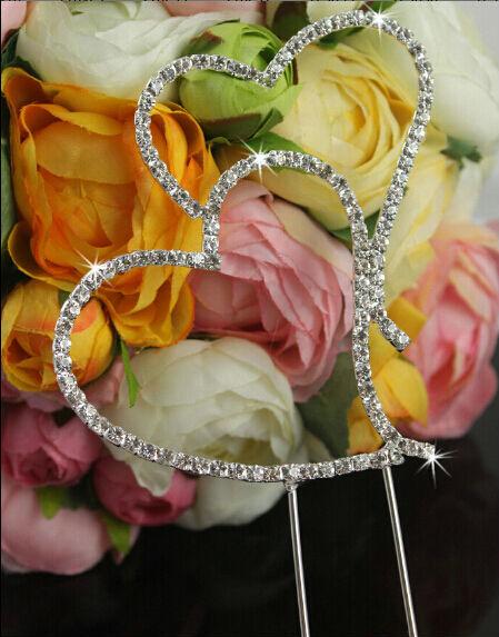 crystal rhinestone double heart cake topper wedding decoration wedding look. Black Bedroom Furniture Sets. Home Design Ideas