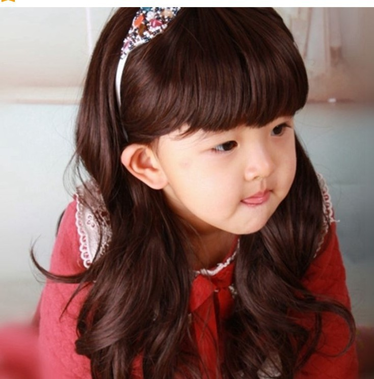 Free Shipping Super Cheap New Fashion Style Baby Children Kids Girls Long Wavy Curly Brown Hair Wigs for Cosplay Party(China (Mainland))