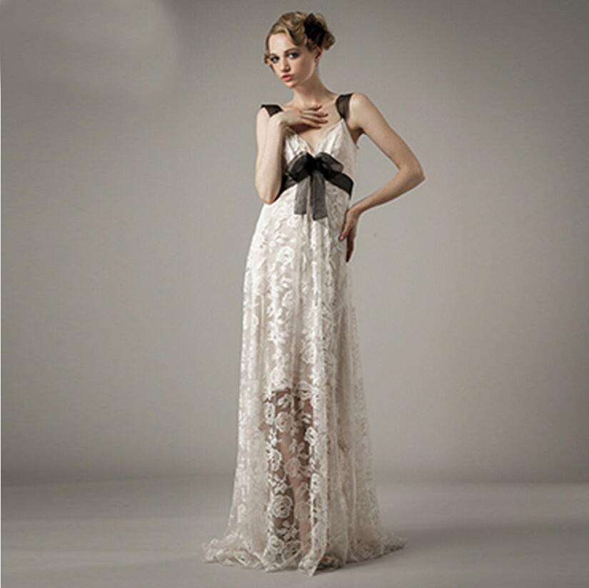 Vestido de casamento 2015 sexy backless long beach wedding for Lace v neck backless wedding dress