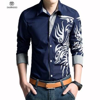 2015 марка мужская рубашка дракон печать тонкой свободного покроя рубашка белый мужские рубашки платье свободного покроя рубашки с длинным рукавом S XXXL camisas