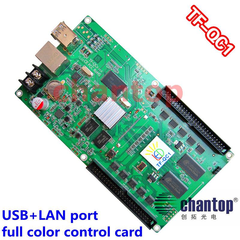 Фотография TF-QC1 USB+ network port full color asynchronous led control card 512x80 ,384x160 pixels video support  RGB module controller