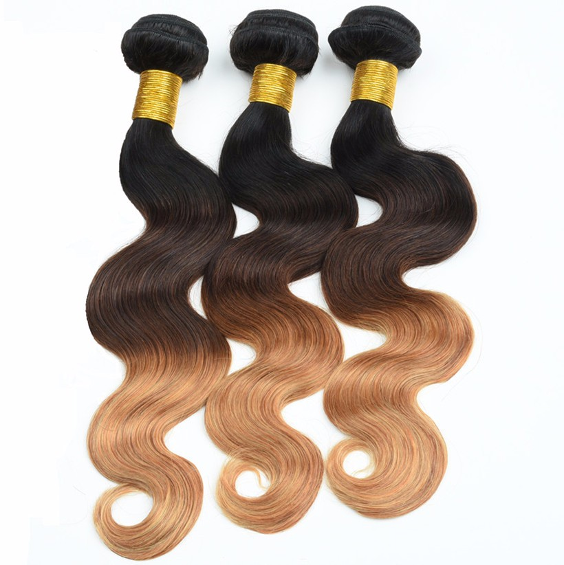 8A Ombre Peruvian Virgin Hair Body Wave 3 Bundles Soft Weave Ombre Hair Extensions T1B/33/27 Ombre Peruvian Hair Weave Bundles