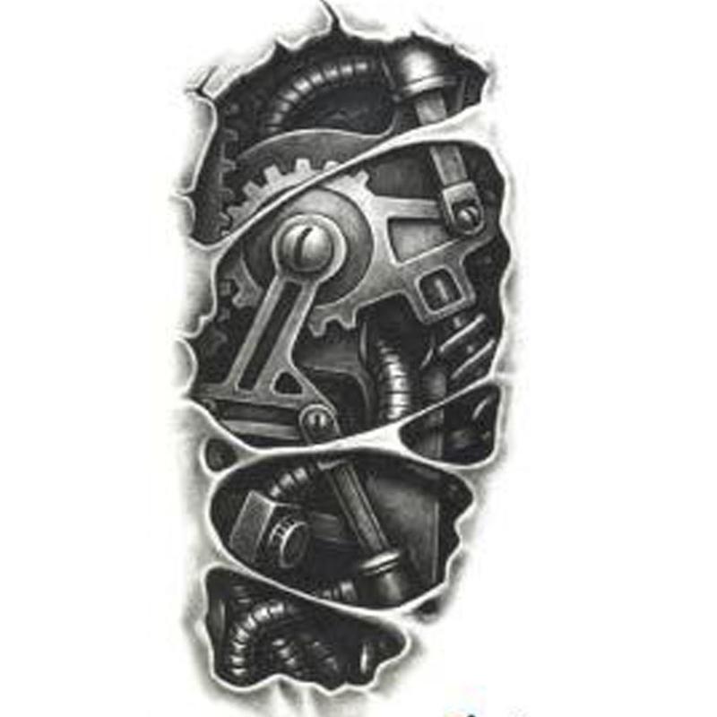 Temporary Tattoos 3D Tattoo Sleeve Black Mechanical Arm Fake Transfer Tattoo Stickers Hot Sexy Cool Men Spray Waterproof Designs(China (Mainland))