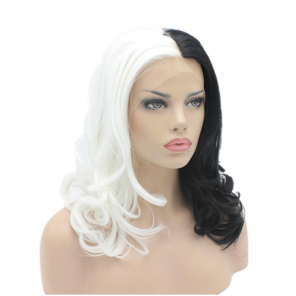 K19 16inch Wavy Half White Half Black Mix Color Synthetic Lace Front Wigs Heat Resistant Heavy Density kanekalon Lady Wigs