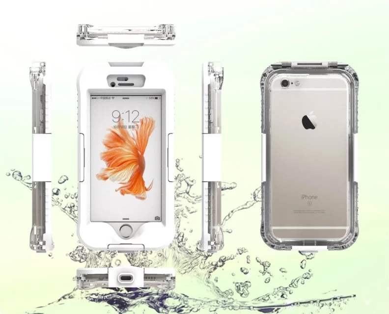 6m Underwater Dive Waterproof Mobile Phone Case Swimming Anti Knock Shockproof Bag Fingerprint Unlock for iphone 6s plus P80318.(China (Mainland))