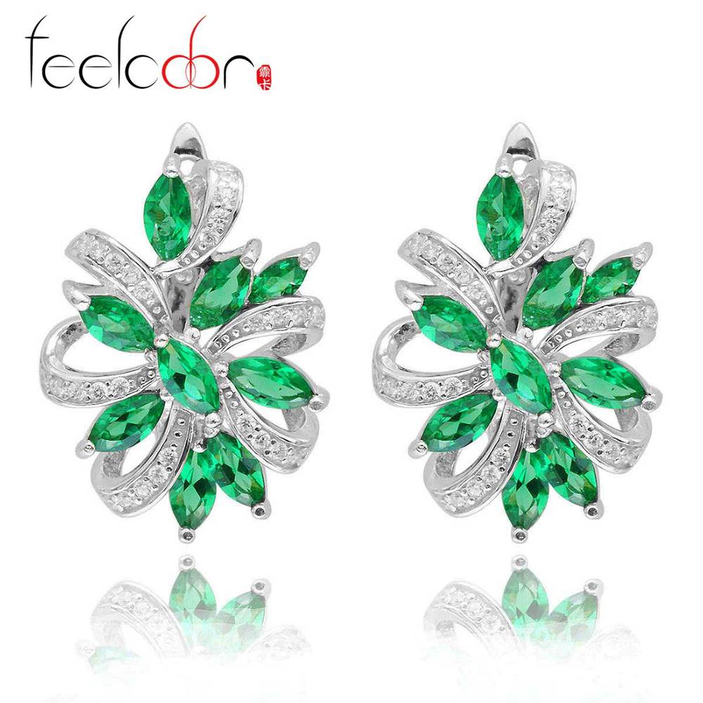 Nano Russian Green Emerald Beautiful Earrings Clip Solid 925 Sterling Solid Silver Gift Bijouterie For Lovers Promotion<br><br>Aliexpress