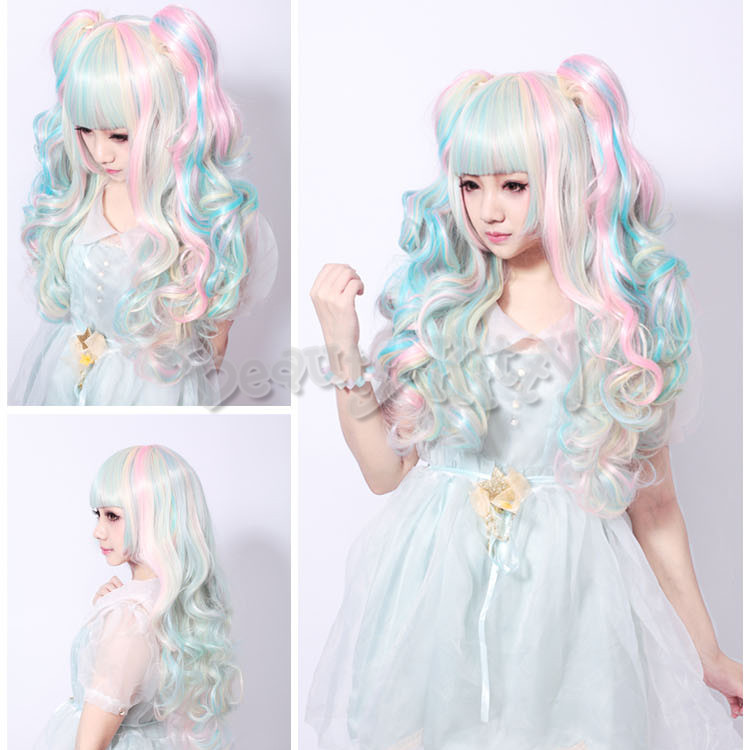 Lolita Mixed Gradient Pink Blue Beige Long Wavy Scroll Curly Harajuku Wig Anime Cosplay Costume Girl Synthetic Hair<br><br>Aliexpress