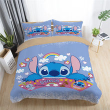 Disney Stitch Printed Bedding Set Home textile Cartoon Single Twin Full Queen King Size Bedclothes Children's Boy Girl Bedroom(China)