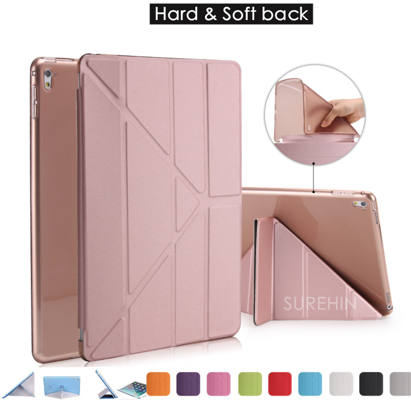 Good hard & flexible tpu silicone soft back leather smart cover for apple ipad pro 9.7 case slim magnetic thin as 360 rotating(China (Mainland))