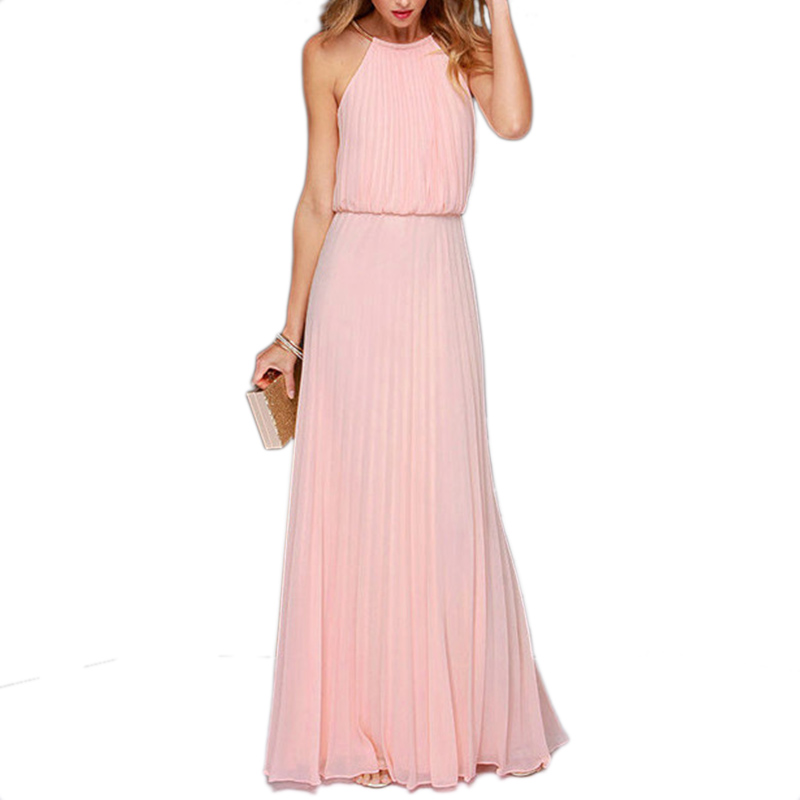 Hot sale party women long dresses clothes 2015 pink slim Sleeveless plus size Backless Fashion summer Maxi Dress E3515*60(China (Mainland))