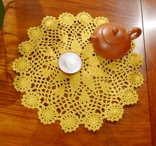 Round 28cm Fashion DIY cotton table mat pad Brand crocheted Yellow table cloth cloths for wedding room Accessories table decor(China (Mainland))