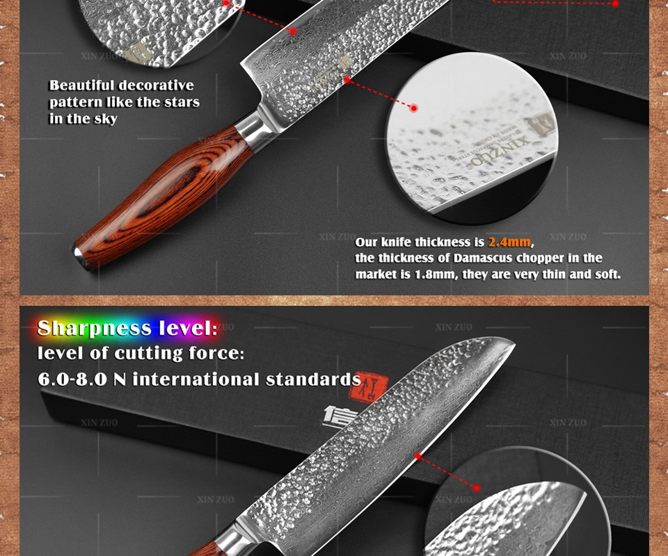 "Buy 2015 NEW 7"" santoku knife 73 layers Japanese Damascus steel kitchen knife senior vegetable knife Color wood handle free shipping cheap"
