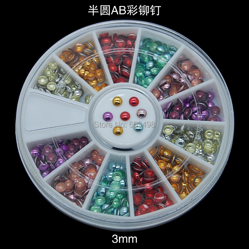 NP4 3pcs/lot 3MM Round Wheel AB Sides Mix Colors Rivet Studs 3D Nail Art Tips Cell Phone Craft Decorations Sticker(China (Mainland))
