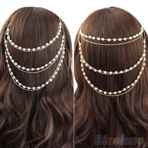 Celebrity Women's Boho Pearl Headband Tassel Headpiece Hair Chain Hair Comb Jewelry 2JTX(China (Mainland))