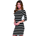 2017 Fashion Dresses Long Sleeve Summer Autumn Women s Round Neck Black and White Stripes Long