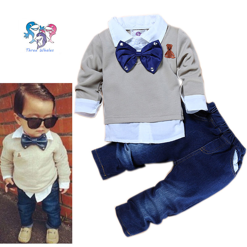 Children Boys Fashion Boutique Clothing Set Bow Tie Toddler Outfits Boys Formal Clothing Gap Baby Boys Suits Sets Gentleman(China (Mainland))