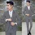 3pcs 2017 Autumn Winter Suit Men Fashion Casual Plaid Soft Velvet Suit Men latest coat pant