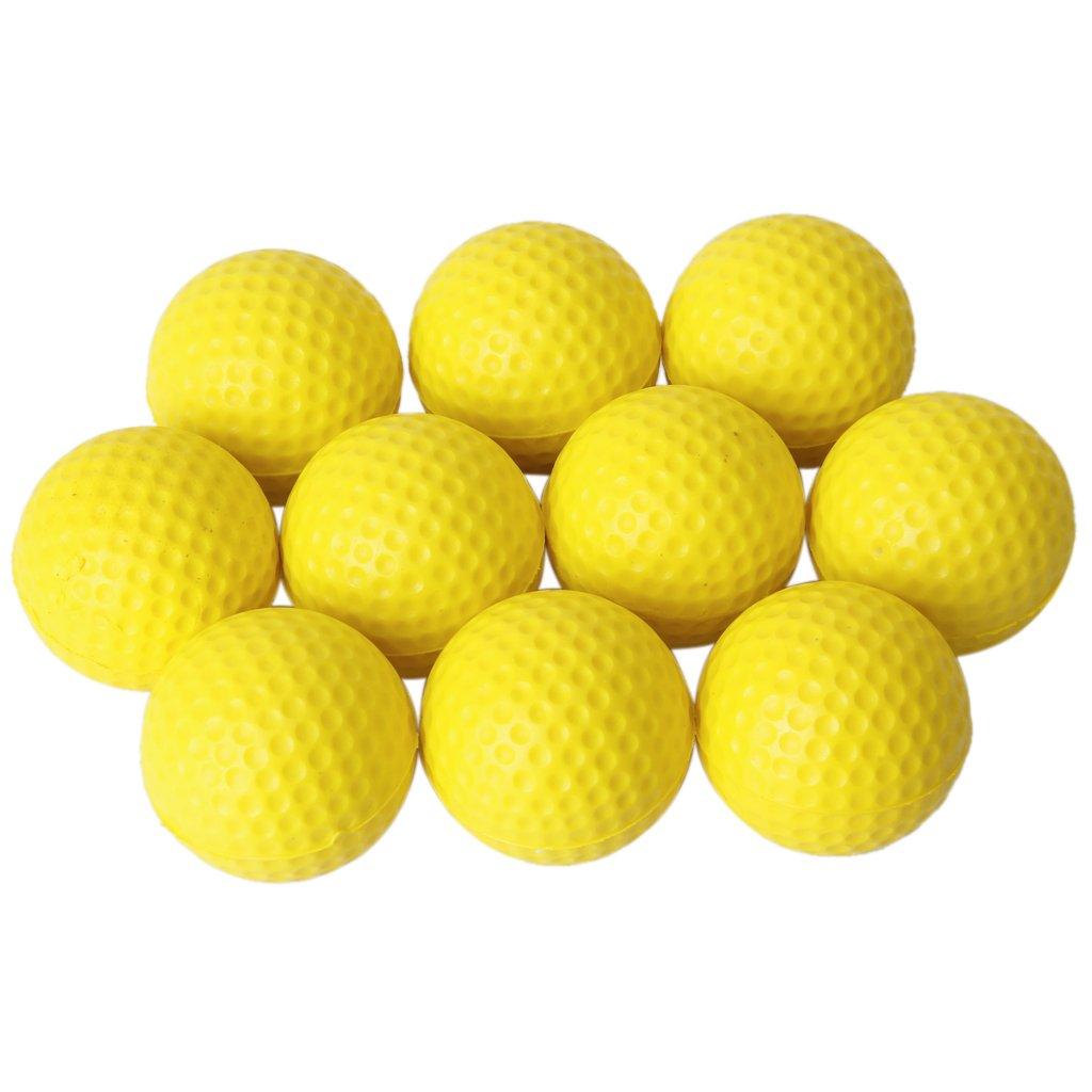 HFES 10pcs Yellow Soft Elastic Indoor Practice PU Golf Ball(China (Mainland))