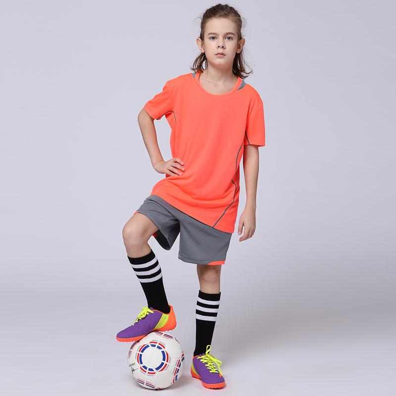 2017 Boys Soccer Sets Girls Sports Tracksuits Training Suits Youth Kids Blank Custom Football Jerseys Team Uniforms T-shirt Kits(China (Mainland))