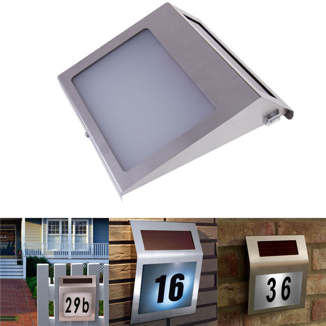 led solar light outdoor stainless solar powered 3led