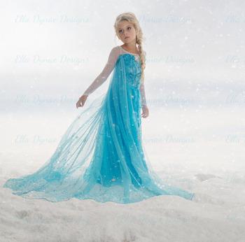 2015 лихорадка девушки эльза зима платье косплей рождественские костюмы для девочек детей ну вечеринку платья фантазия Infantis анна одежду