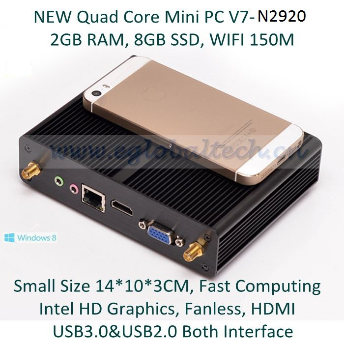 Quad Core Mini PC Alloy Case Celeron Core 2GHz Intel HD Graphics 2G RAM 8GB SSD 300M WIFI Bluetooth HDMI Cable Free Thin Client(China (Mainland))