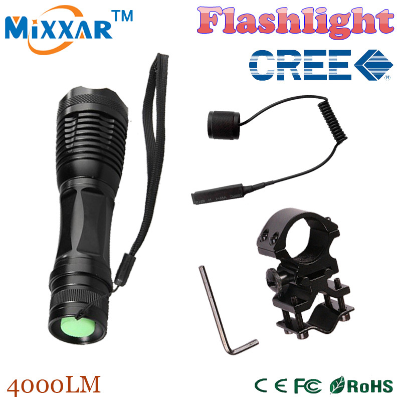 zk50 LED tactical flashlight CREE XM-L T6 4000 Lm 5 modes Zoomable led lanterna torch+ Remote Switch+Shot Gun Mount for Hunting(China (Mainland))