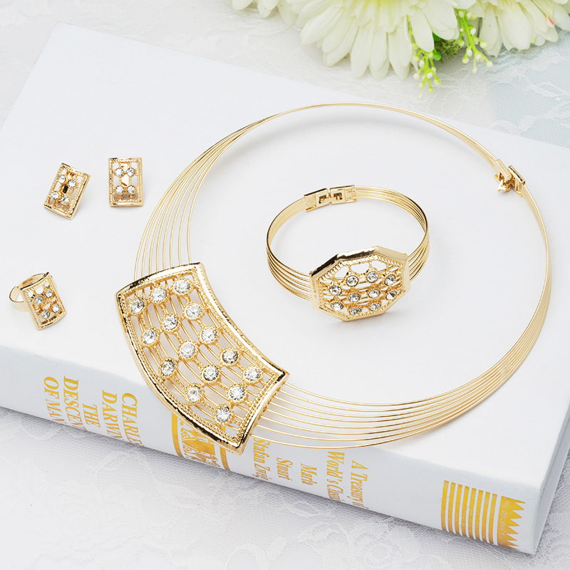 Design Lady Gold Plated Fashion Jeweley Sets Necklace/Bracelet/Earring Classic Party Part Dress Accessories Jewelry J047 - Verynice store
