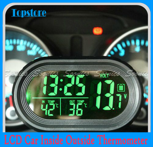 LCD Car Inside Outside Thermometer Voltage Meter Voltmeter Clock Alarm Backlight Free Shipping(China (Mainland))