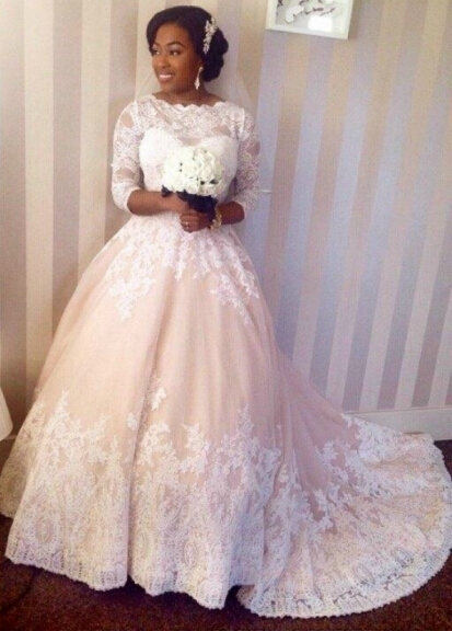 Plus Size Wedding Dresses 3 4 Sleeve : Aliexpress buy custom made plus size ball gown