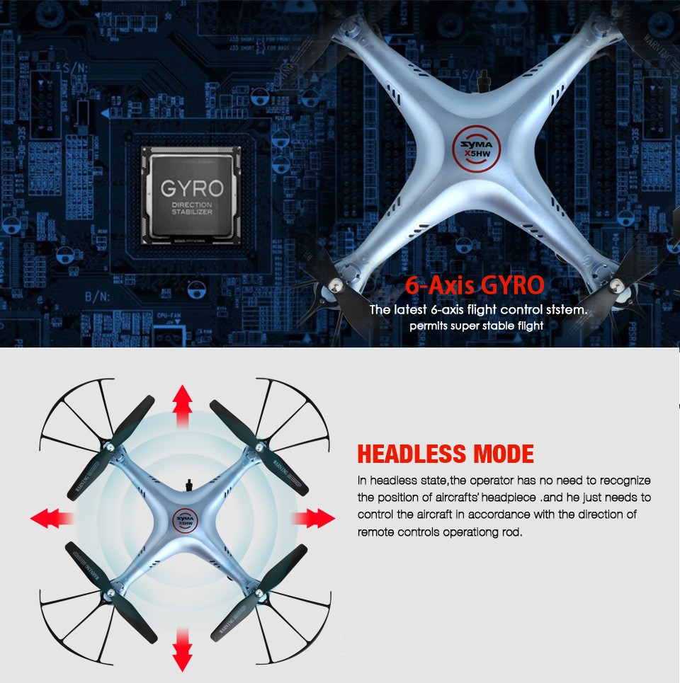 Syma X5HW FPV RC Quadcopter Drone with WIFI Camera HD 2.4G 6-Axis VS Syma X5C Upgrade dron RC Helicopter Toys with 6 battery