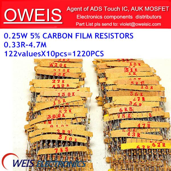 ! 0.33R-4.7M ohm 1/4W 0.25W 5% DIP carbon film resistor,122valuesX10pcs=1220pcs, RESISTOR Assorted Kit, Sample bag - Oweis Electronics (HK store)