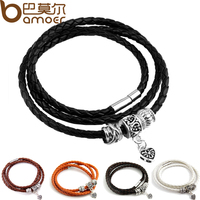 Newest Arrival Silver Charm Black Leather Wrap Bracelet for Women Five Colors Magnet Clasp Christmas Gift Jewelry PI0311