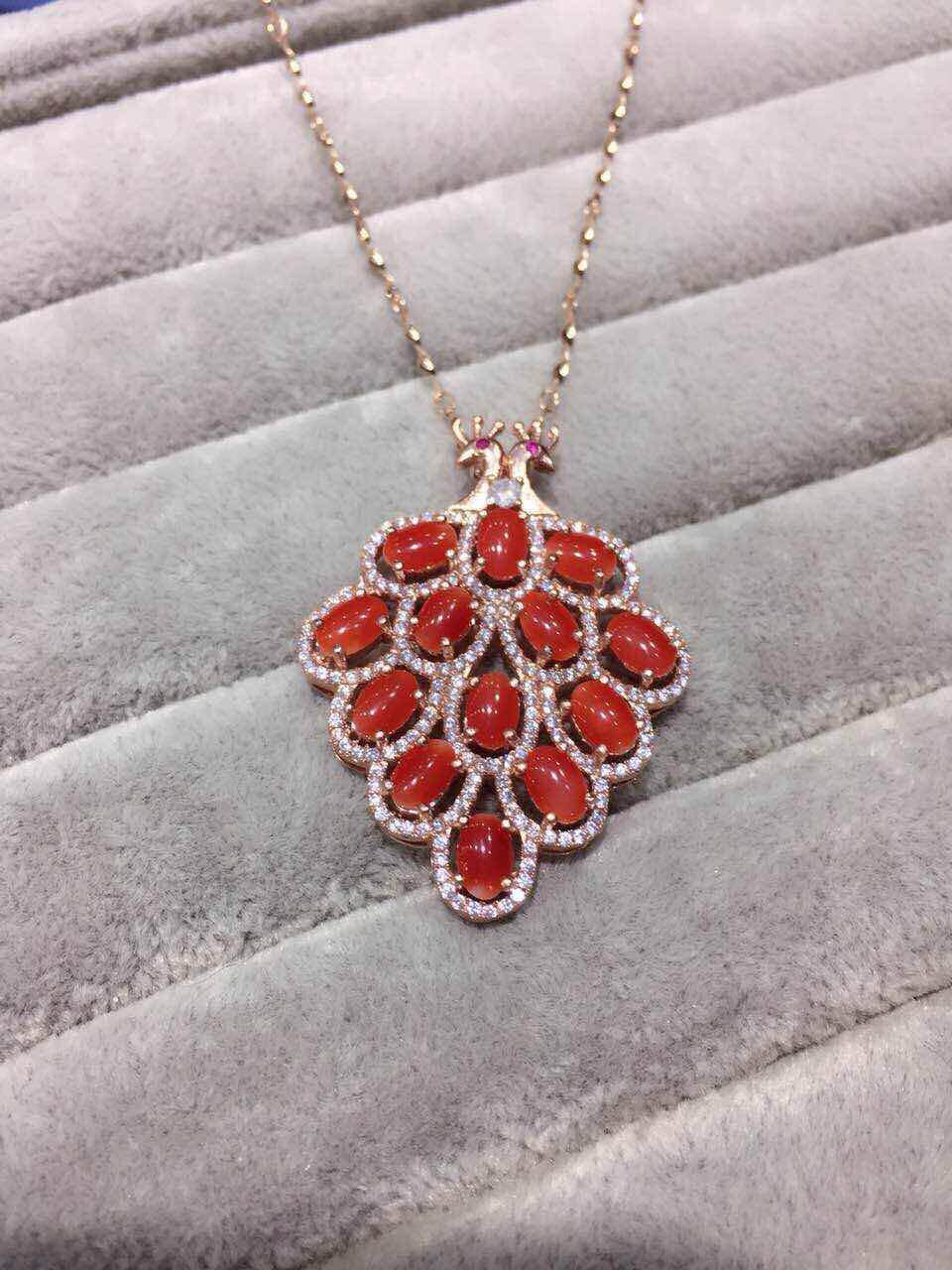 natural red coral gem pendant S925 silver Natural gemstone Pendant Necklace trendy Luxury peacock women wedding gift jewelry(China (Mainland))