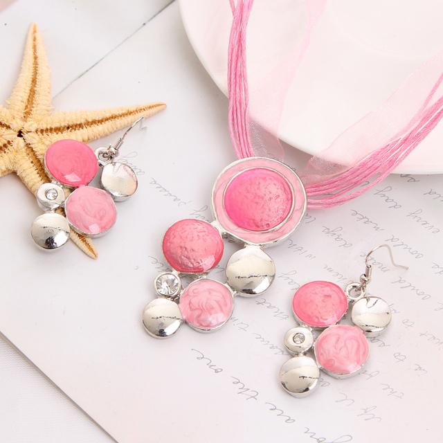 Мода марка ювелирные комплект розовый веревка цепочка круглый бусины ожерелье серьги ...